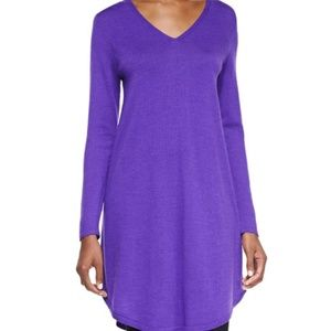 Eileen Fisher V-Neck Merino Wool Shirttail Dress S